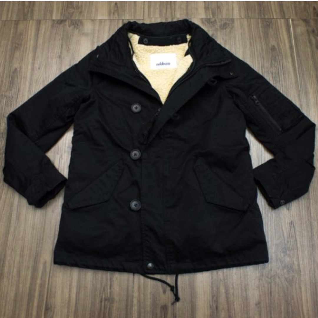 日本購入 Robbem 黑色 排扣 內裡刷毛 連帽 保暖外套 (38)