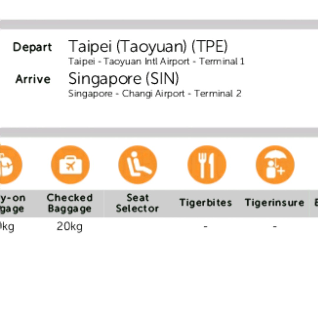 Airticket to and fro taiwan taoyuan airport