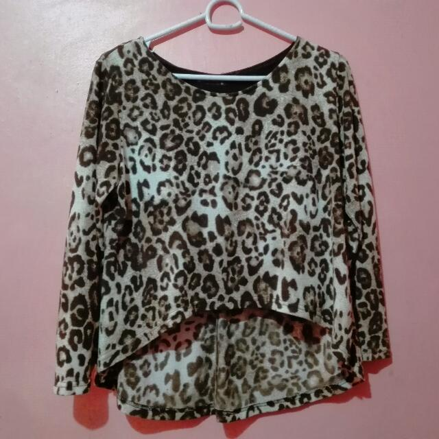 Animal Print High-Low Pullover