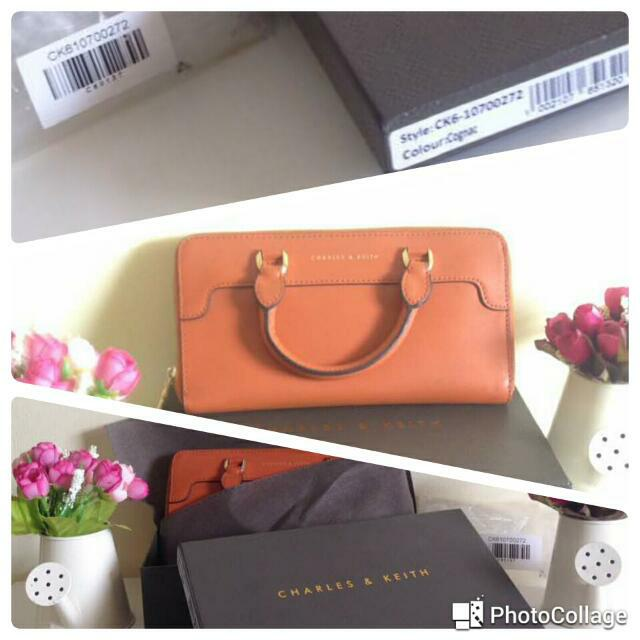 REPRICE!! Authentic Charles & Keith Cognac Wallet. Now 175k Only.