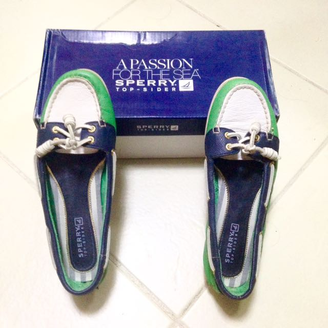 Authentic Sperry Topsider Audrey Green/Navy/White