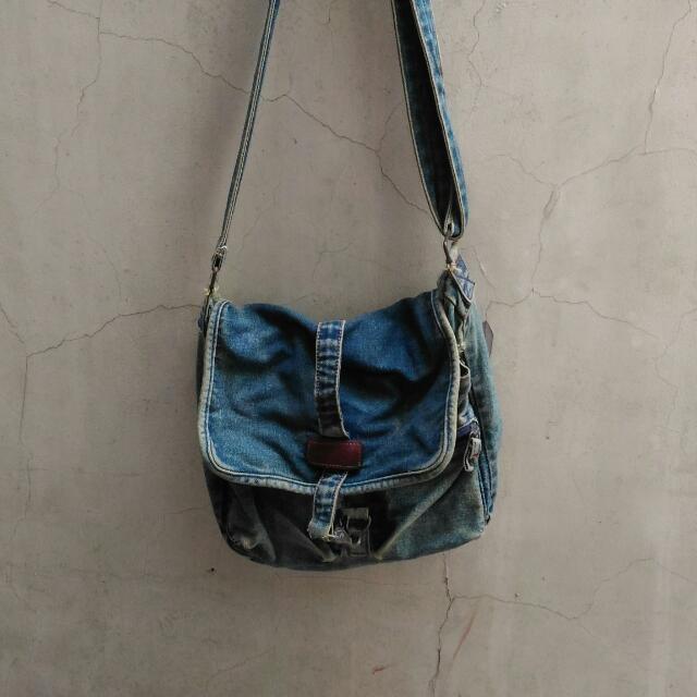 Basic Denim Messenger Bag
