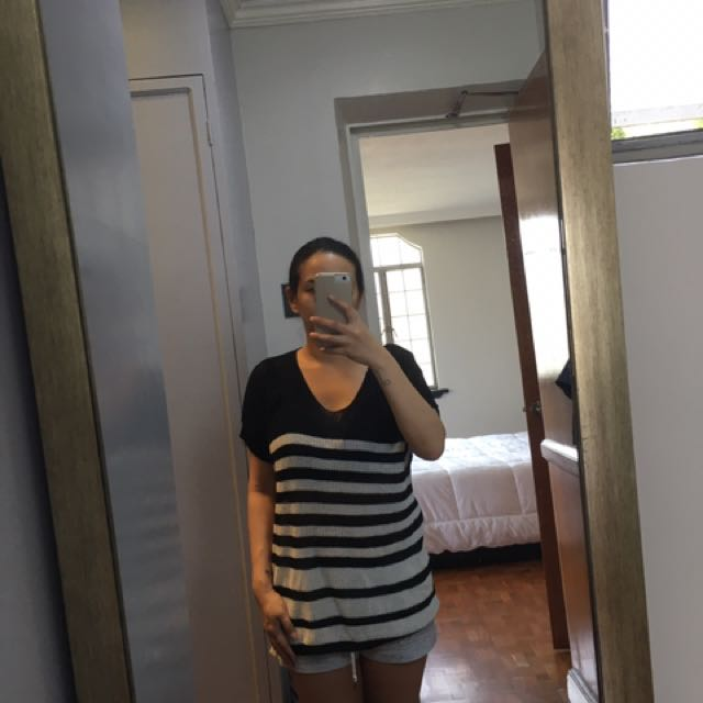 Black and White Striped Knit Top Size Small