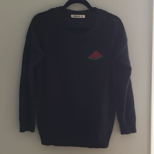 Black Knit Watermelon Pull Over