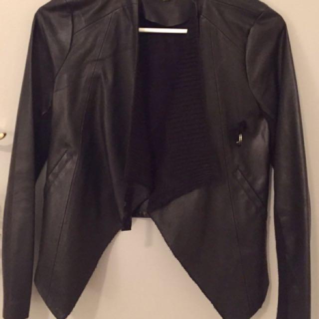 Black Leather Look Jacket Size S