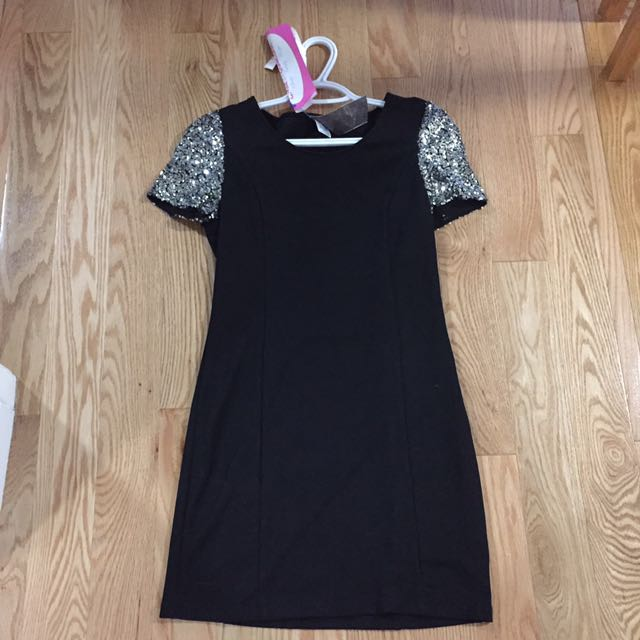 Black Short Dress With Sequin Sleeve