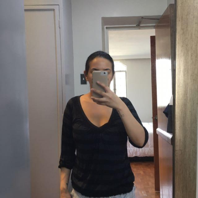 Black Striped 3/4 V neck top