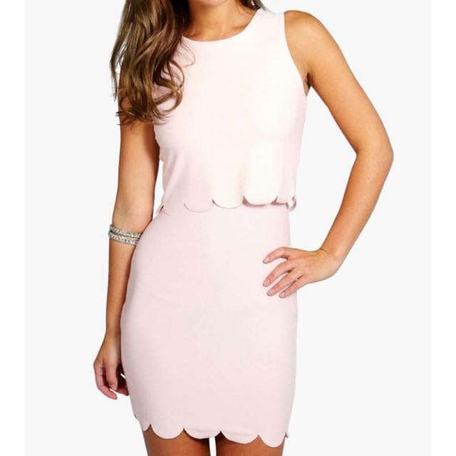 Boohoo Peach Scallop Mini Dress