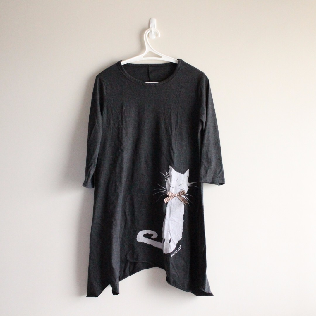 Cat Shirt Dress - Black