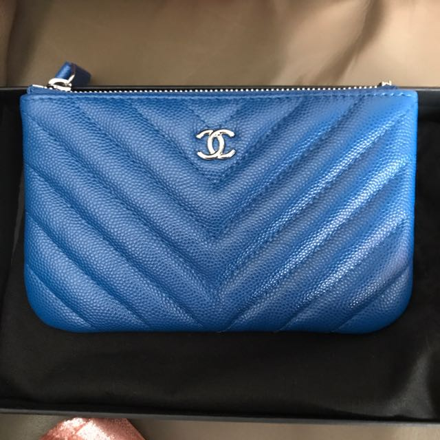 3f1f53e5c4a4 Chanel Caviar Chevron Mini O Case Pouch