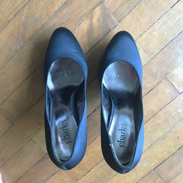 Charles David Black Satin Stilettos