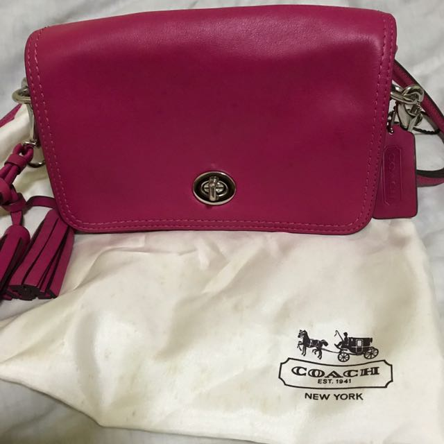 Coach legacy leather penny sling bag (fusion Pink) 5eb9f293e7ea6
