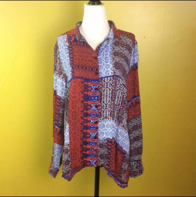 Cotton On Blouse Red Blue Psychedelic Pattern Shirt Size Medium