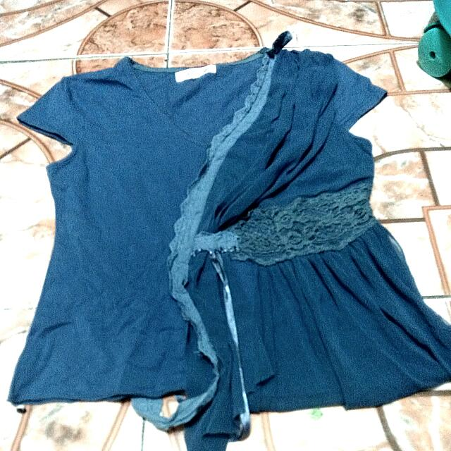 CR❤Donna Cyan Blue Blouse With Mesh