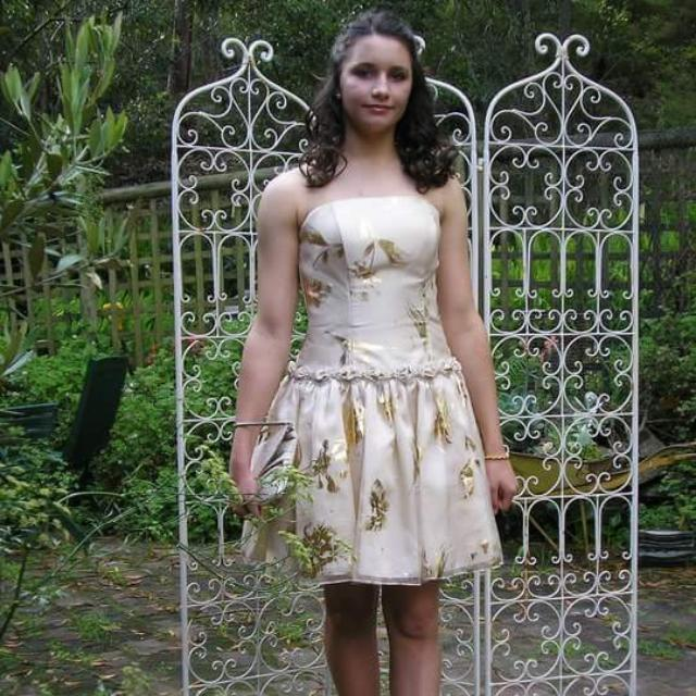 Cream And Gold Formal Cocktail Dress