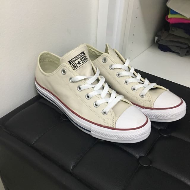 Cream Leather Converse Shoes