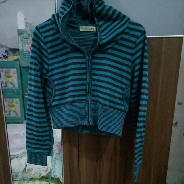 Crop Cardigan With Hoodie