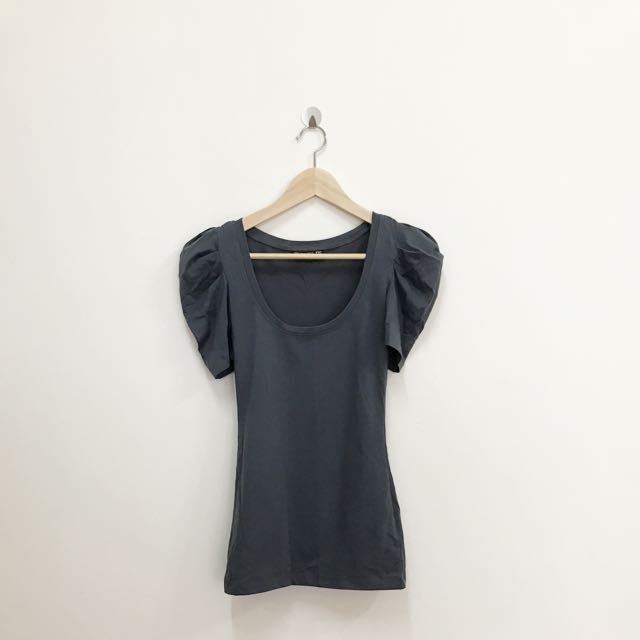 Dark Grey Puffy Sleeves Top