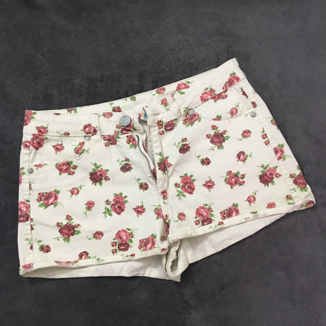 Denim Co floral micro mini shorts