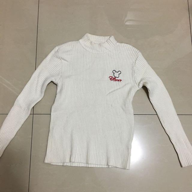 (含運)Disney女童針織白色毛衣