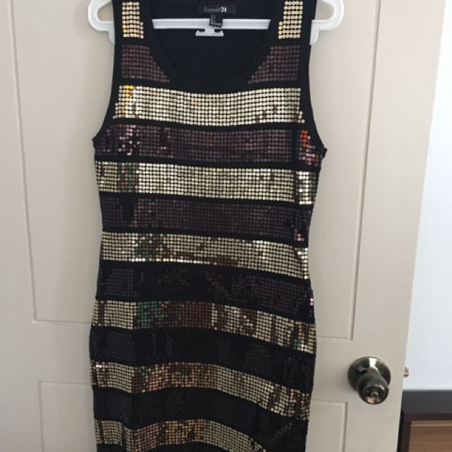 F21 Black And Gold Sequined Bodycon