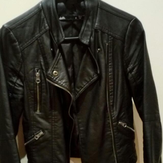 Faux Leather Jacket Black Dotti Sz 6