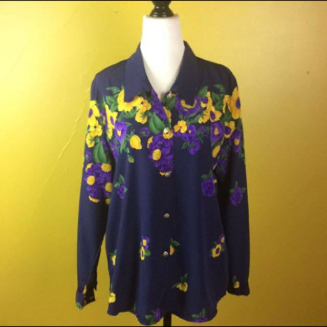Floral Blouse Marine Blue Shirt