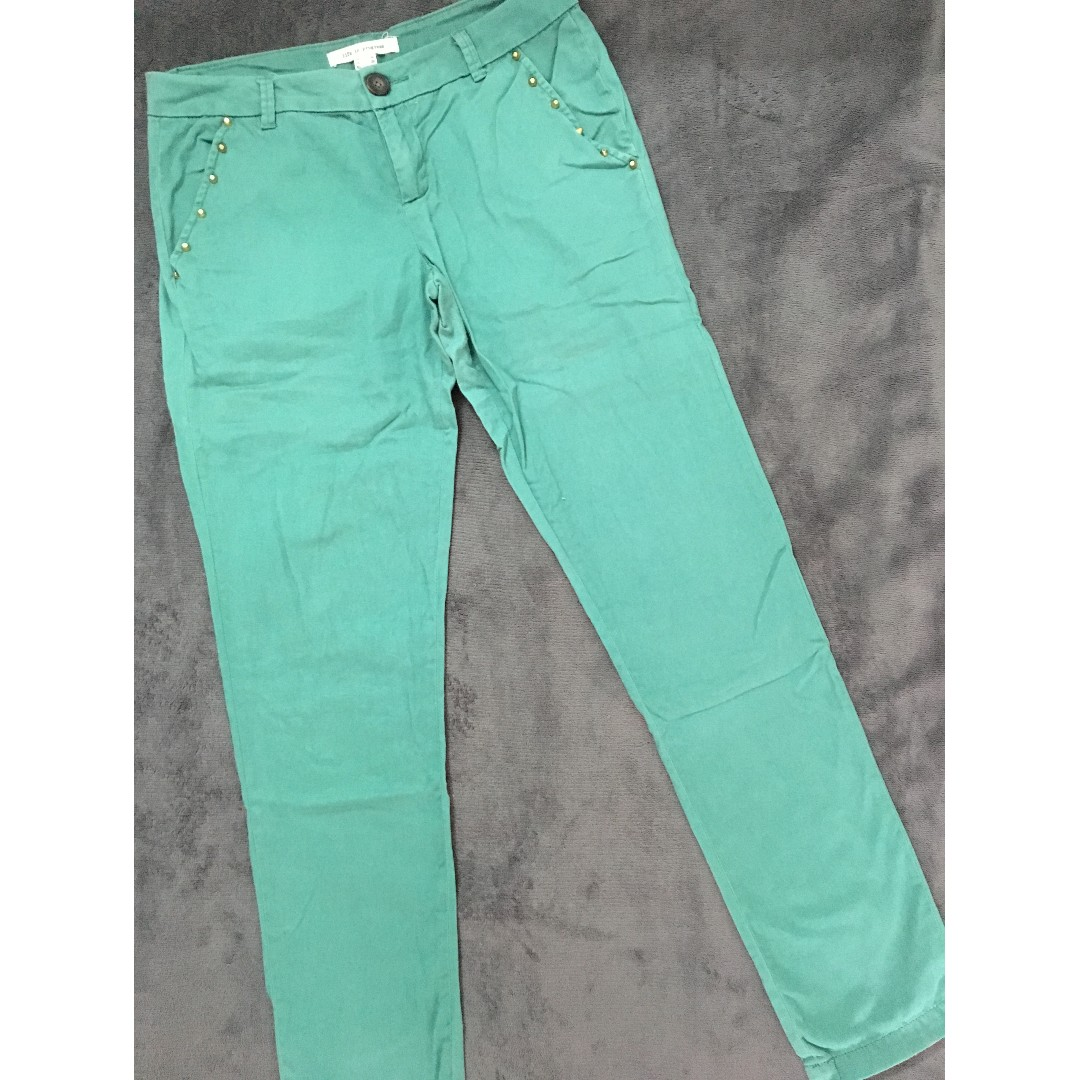 Forever 21 green pants with gold studs