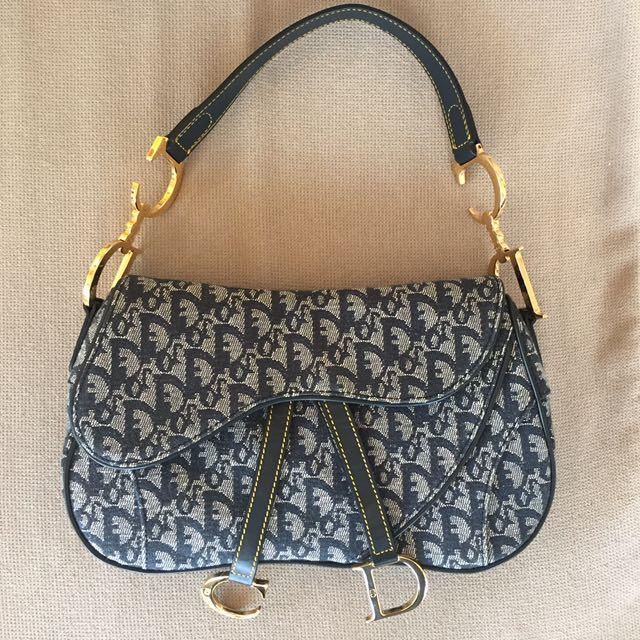 Genuine Dior Denim Logo Double Saddle Bag