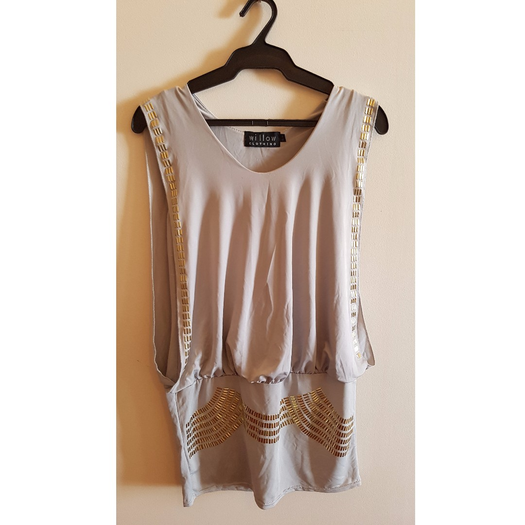 Gray Jersey Top with Gold Embellishments