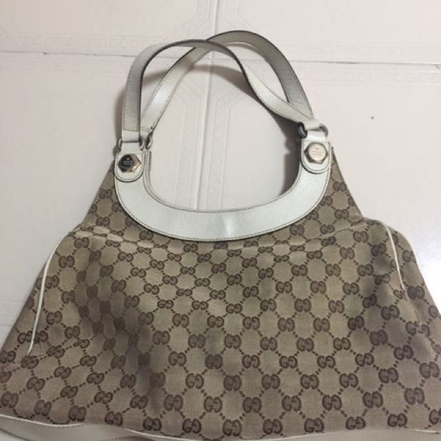 632d6da967f Authentic GUCCI  GG canvas tote bag   shoulder bag   Brown   Brown x ...