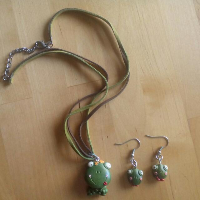 Handmade Frog Polymer Clay Necklace & Earrings