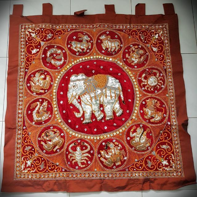 Hiasan Dinding Gajah Souvenir Thailand 1mx1m