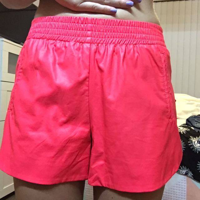 Hot Pink Leather Shorts