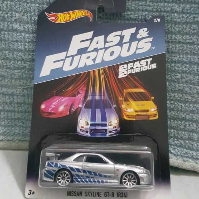 Hotwheels 2 Fast Furious Nissan Skyline GT R R34 Paul Walker US Card Toys Games Diecast Toy Vehicles On Carousell