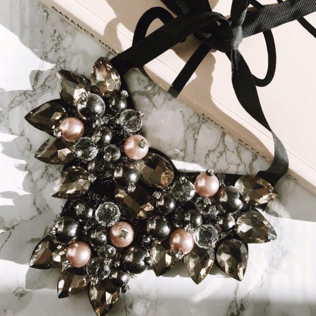 Jeweled & Beaded Bibbed Necklace