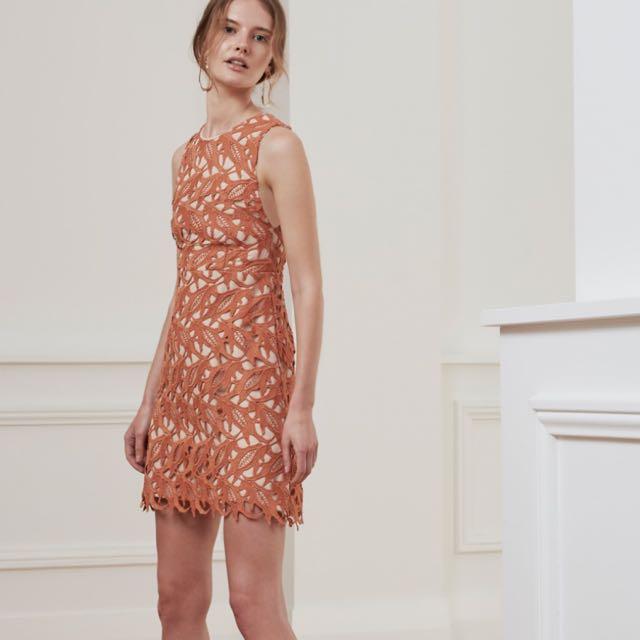 Keepsake Terracotta Lace Mini Dress Size L