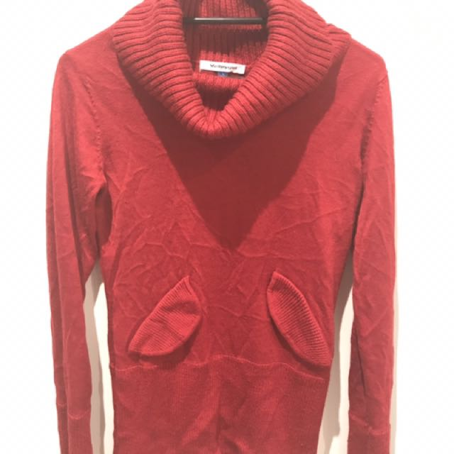 Knitted Red Turtleneck Top
