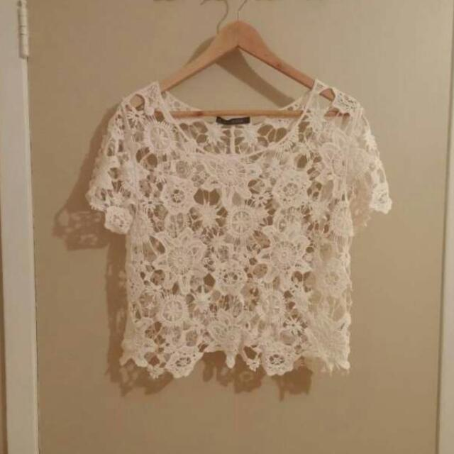 Lacey Crocheted Crop Top