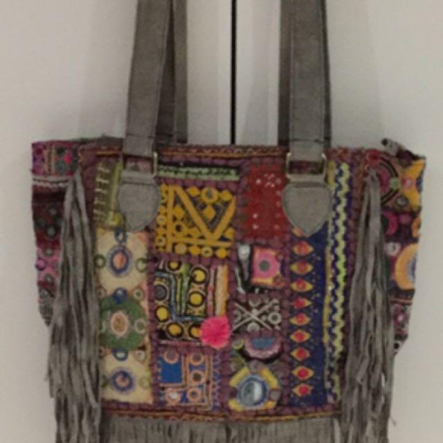 Large Grey Suede Antique Indian Handbag