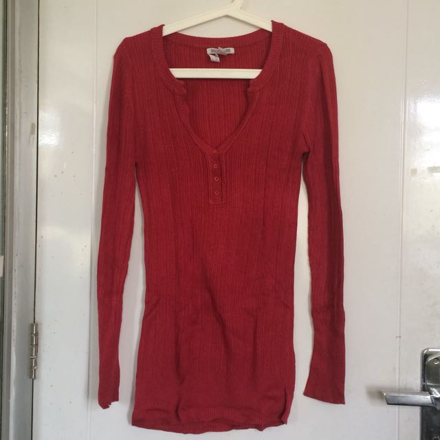 Mango Long Sleeve Red Knitted