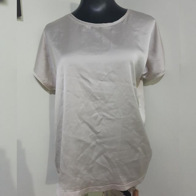 MANGO satin front x cotton back blouse