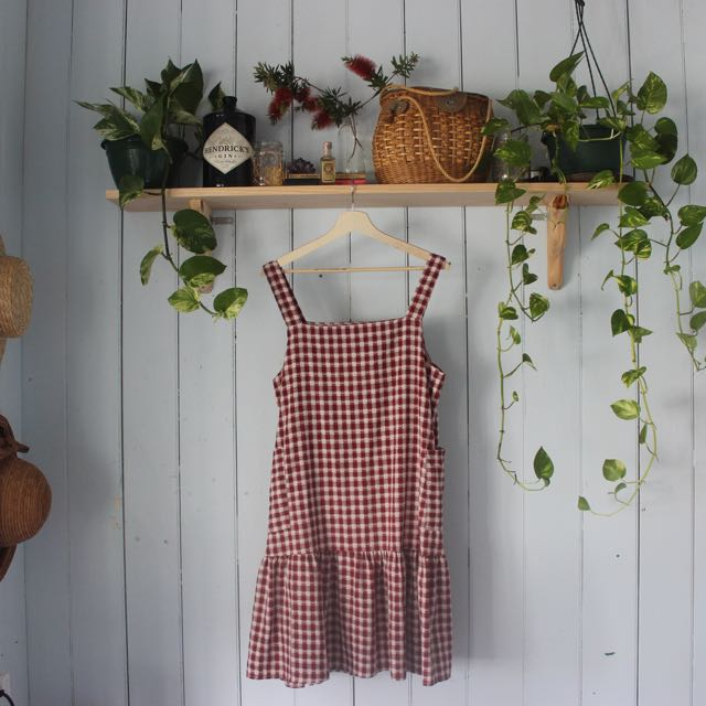 Maroon Gingham Dress