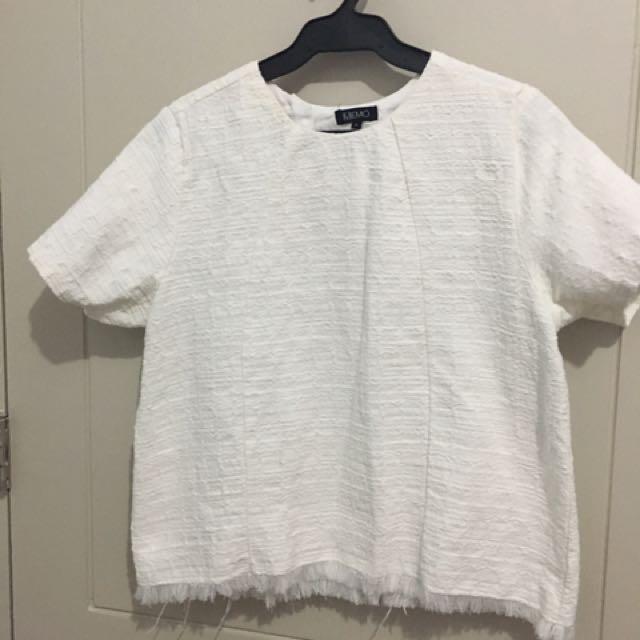 Memo White Textured Blouse