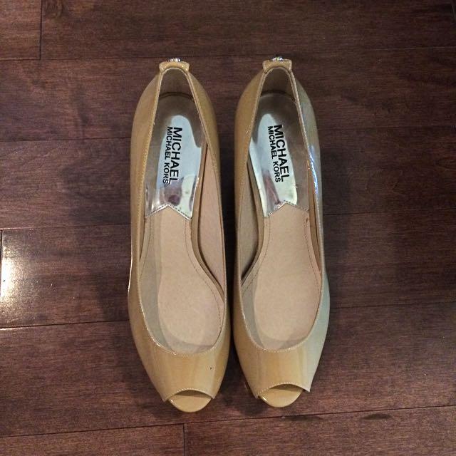 MICHAEL KORS Nude Peep Toe Shoes