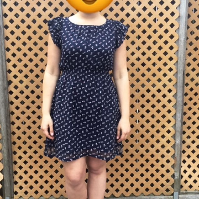 Navy blue Fit And Flare Dress with Bunnies Print
