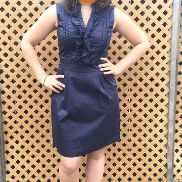 Navy Blue Sleeveless Dress with V-neck