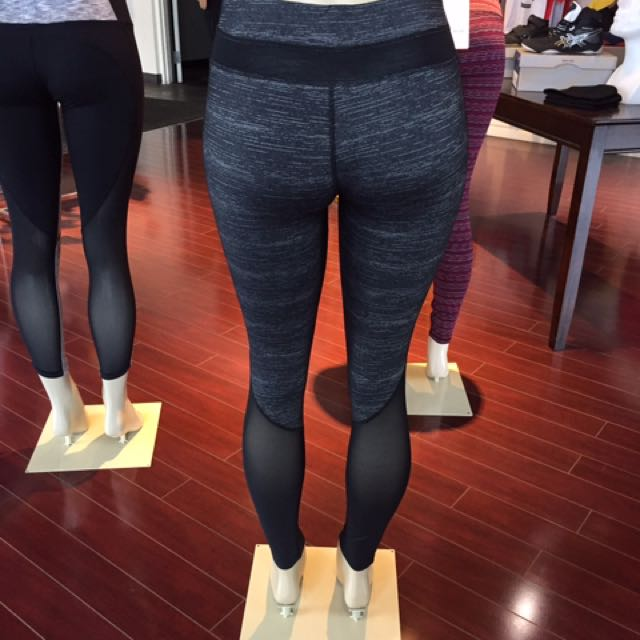 New Grey And Black Mesh Yoga Pant