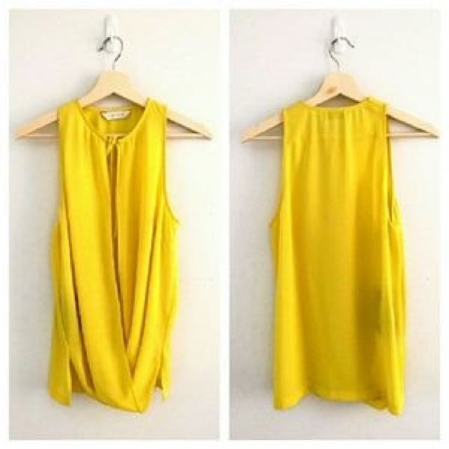 NWT Dion Lee II Drape Front Top Yellow