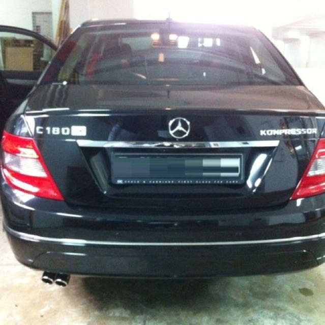 OEM Twin Chrome Exhaust Tips on Mercedes Benz C180 W204 , Car